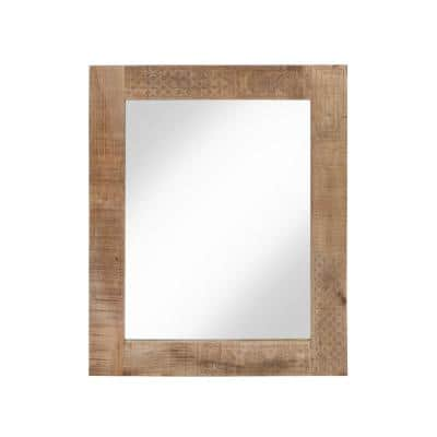 Amani 39.30 in. x 31.50 in. Rustic Rectangle Framed Natural Wall Mirror
