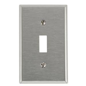 Leviton Stainless Steel 1 Gang Toggle Wall Plate 1 Pack 84001 A40 The Home Depot