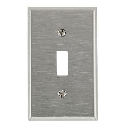 1-Gang 1-Toggle Standard Size Stainless Steel Wall Plate, Stainless Steel