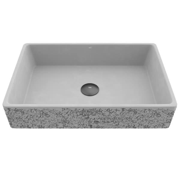 Vigo Cast Stone Dahlia Concrete, Rectangular Vessel Bathroom Sink