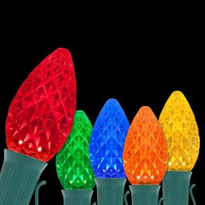 OptiCore 24 ft. 25-Light LED Multicolor Faceted C7 String Light Set