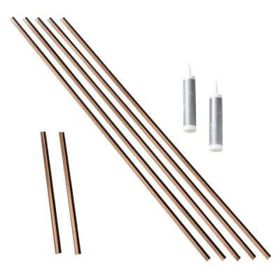 47 in. Polished Copper Vinyl Large Profile Backsplash Accessory Kit