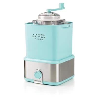 2 qt. Aqua and Stainless Steel Ice Cream Maker with Candy Crusher