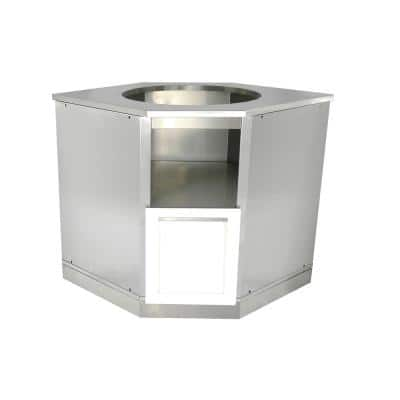Stainless Steel Insert Kamado Grill 36x34x34 in. Outdoor Kitchen Cabinet Base with Powder Coated Door in White