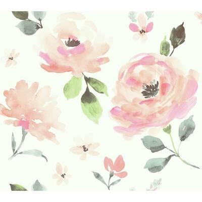 45 sq. ft. Watercolor Blooms Premium Peel and Stick Wallpaper
