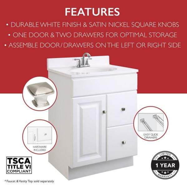 Design House Wyndham 24 In W X 18 In D Unassembled Bath Vanity Cabinet Only In White Semi Gloss 597161 The Home Depot