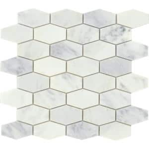 Marble Winter Frost 11.81 in. x 12.2 in. Honeycomb Polished Marble Mosaic Tile (1.018 sq. ft./Each)