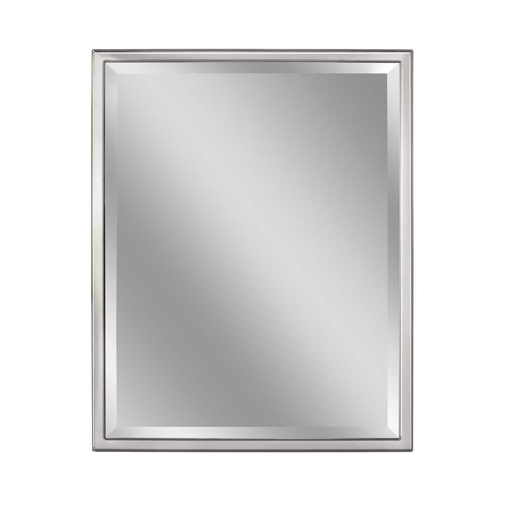 Deco Mirror 24 In W X 30 In H Framed Rectangular Beveled Edge Bathroom Vanity Mirror In Chrome 8022 The Home Depot