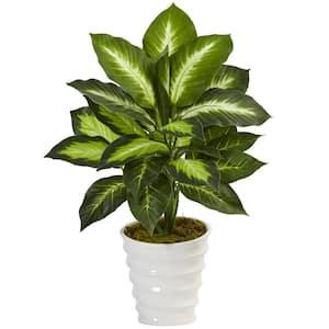 Indoor Dieffenbachia Artificial Plant in Swirl Planter