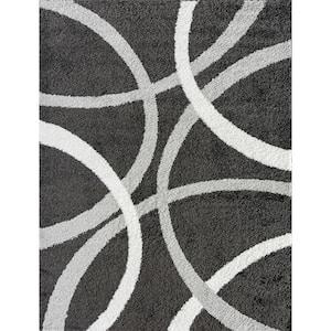 Uptown Shag Dark Gray 8 ft. x 10 ft. Abstract Polypropylene Area Rug