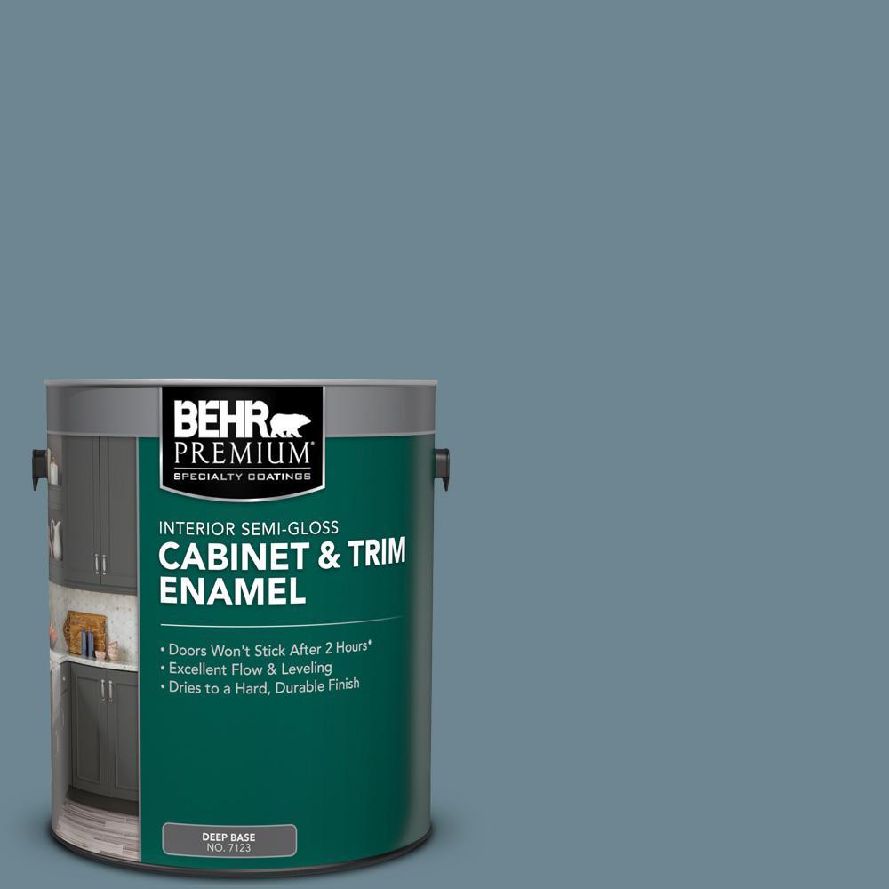 1 gal. #N480-5 Adirondack Blue Semi-Gloss Enamel Interior Cabinet and Trim Paint