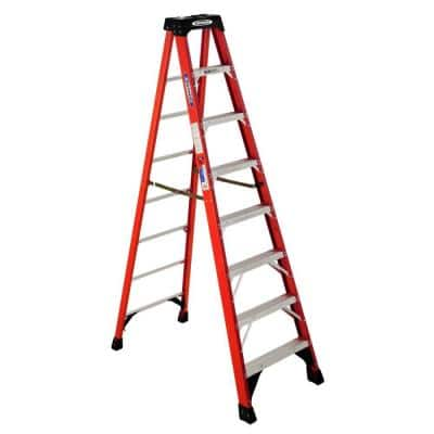 8 ft. Fiberglass Step Ladder (12 ft. Reach Height) with 300 lbs. Load Capacity Type IA Duty Rating