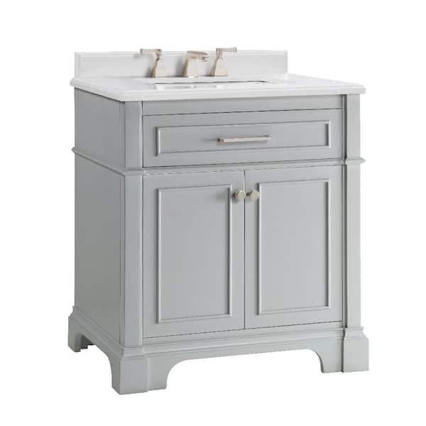 D Bath Vanity In Dove Grey, 30 White Bathroom Vanity With Top