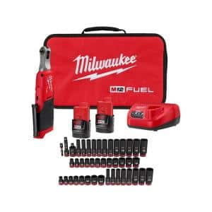 M12 FUEL 12-Volt Cordless High Speed 1/4 in. Ratchet Kit with 3/8 in. Drive SAE and Metric Impact Socket Set (43-Piece)