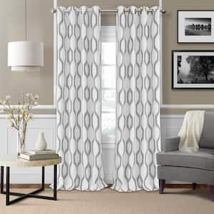 Light Gray Ikat Blackout Curtain - 52 in. W x 84 in. L