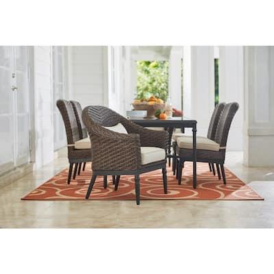 Camden 7-Piece Dark Brown Wicker Outdoor Patio Dining Set with Sunbrella Antique Beige & Fretwork Flax Cushions