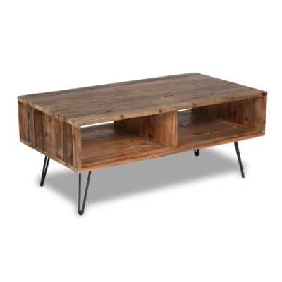 Turner 42 in. Natural Large Rectangle Wood Coffee Table with Shelf