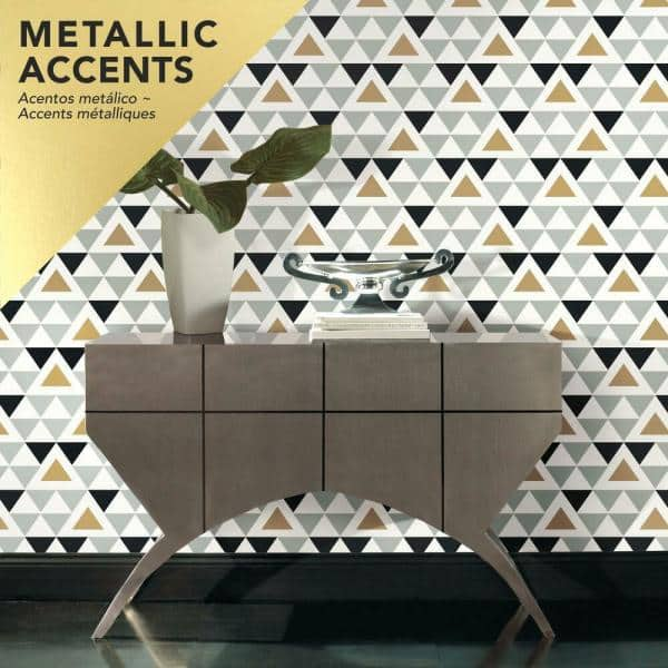 Roommates Geometric Triangle Peel And Stick Wallpaper Covers 28 18 Sq Ft Rmk9055wp The Home Depot