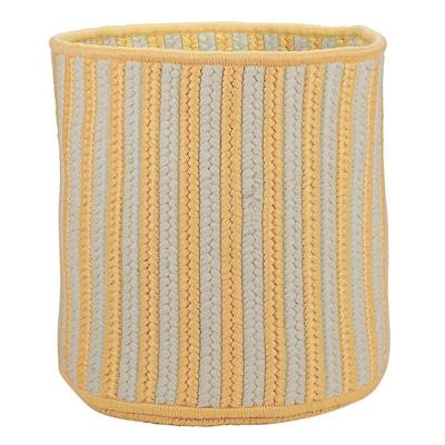 Yellow Vertical Stripe Round Basket