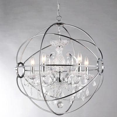 Saturn 17 in. 4-Light Indoor Chrome Finish Chandelier with Light Kit