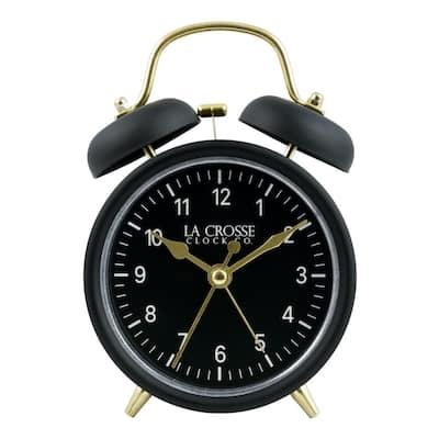 Black Twin Bell Quartz Alarm Clock