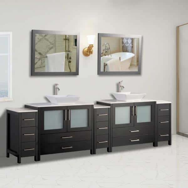 Vanity Art Ravenna 108 In W X 18 5 In D X 36 In H Bathroom Vanity In Espresso With Double Basin Top In White Ceramic And Mirrors Va3136 108e The Home Depot