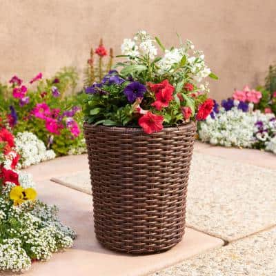 Cambridge 12 in. Dia x 13 in. H Brown Resin Wicker Round Planter with Liner