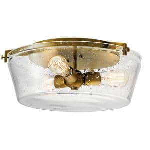 Alton 18.5 in. 3-Light Natural Brass Flush Mount Ceiling Light with Seeded Glass