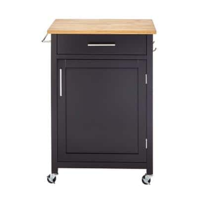"""Glenville Small Black Kitchen Cart with Butcher Block Top and Locking Wheels (24"""" W )"""
