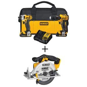 20-Volt MAX Cordless Drill/Impact Combo Kit (2-Tool) with (2) 20-Volt 1.5Ah Batteries, Charger & 6-1/2 in. Circular Saw