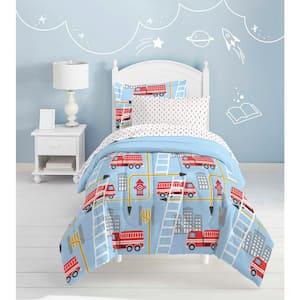 Fire Truck 5-Piece Blue Twin Comforter Set