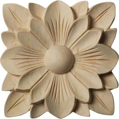 1/2 in. x 3-1/2 in. x 3-1/2 in. Unfinished Wood Maple Springtime Rosette