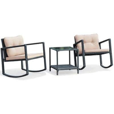 3-Piece Wicker Patio Conversation Set Bistro Furniture Set 2 Rocking Chairs, Glass Side Table with Beige Cushions