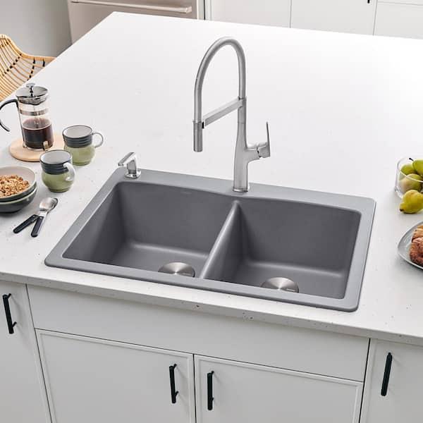 Blanco Diamond Dual Mount Granite Composite 33 In 1 Hole 50 Double Bowl Kitchen Sink Metallic Gray 440219 The Home Depot