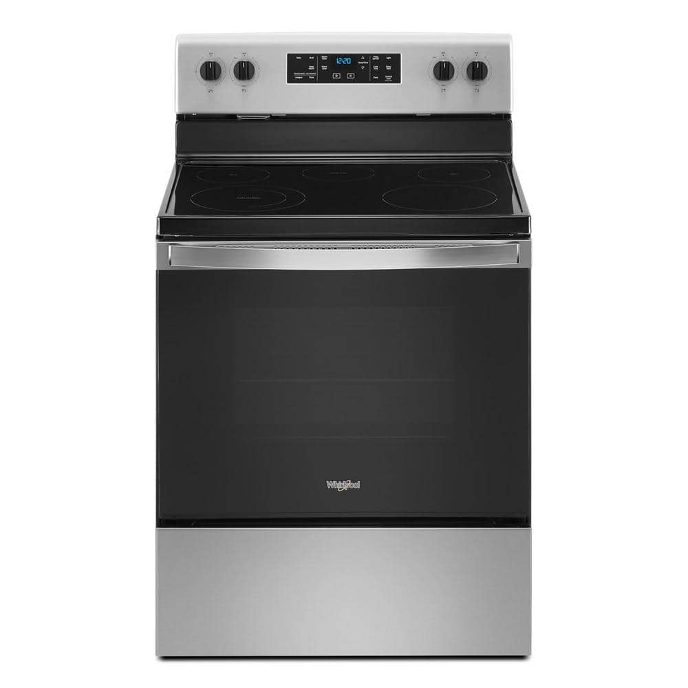 Whirlpool 30 In 5 3 Cu Ft Electric Range With 5 Elements And Frozen Bake Technology In Stainless Steel Wfe505w0js The Home Depot