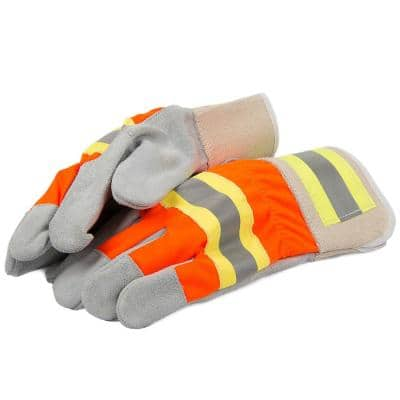 Men's X-Large High Visibility Leather Palm Gloves
