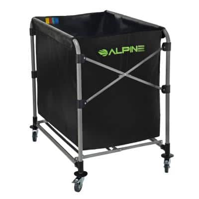 8-Bushel Black Collapsible Vinyl Laundry Cleaning Cart with Wheels