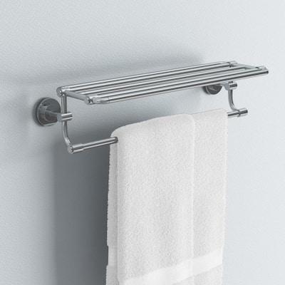ISO 10-7/10 in. L x 6-9/25 in. H x 26-19/20 in. W Zinc Hotel-Style Bathroom Shelf in Chrome