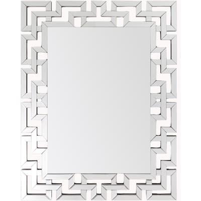 Medium Rectangle Silver Contemporary Mirror (35.5 in. H x 45 in. W)