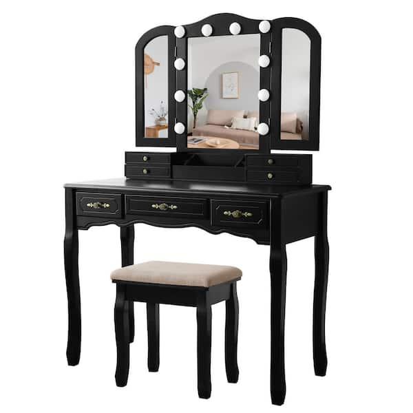 Veikous Black Tri Folding Mirror Vanity, Black Vanity Set With Light Up Mirror