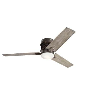 Chiara 52 in. Integrated LED Indoor Olde Bronze Flush Mount Ceiling Fan with Light Kit and Wall Control