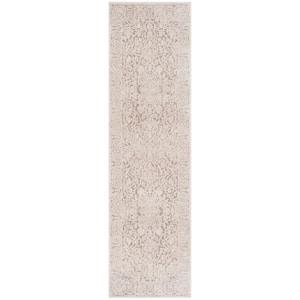 Reflection Beige/Cream 2 ft. x 12 ft. Distressed Floral Runner Rug