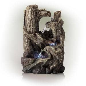 14 in. Tall Indoor 5-Tier Tabletop Rainforest Tree Trunk Waterfall Fountain with LED Lights
