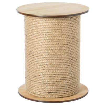 Natrual Decorative Round Spool Shaped Wooden Accent Side Table with Rope