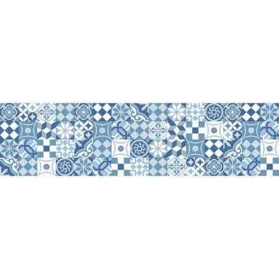 Blue Cementine Peel and Stick Backsplash Wall Decal