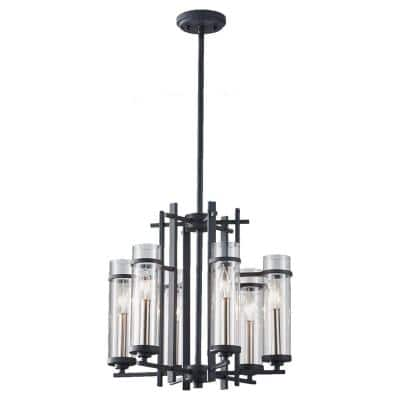 Ethan 6-Light Antique Forged Iron/Brushed Steel Contemporary Industrial 1-Tier Hanging Candlestick Chandelier