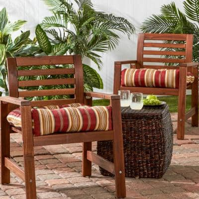 Roma Stripe Square Tufted Outdoor Seat Cushion (2-Set)