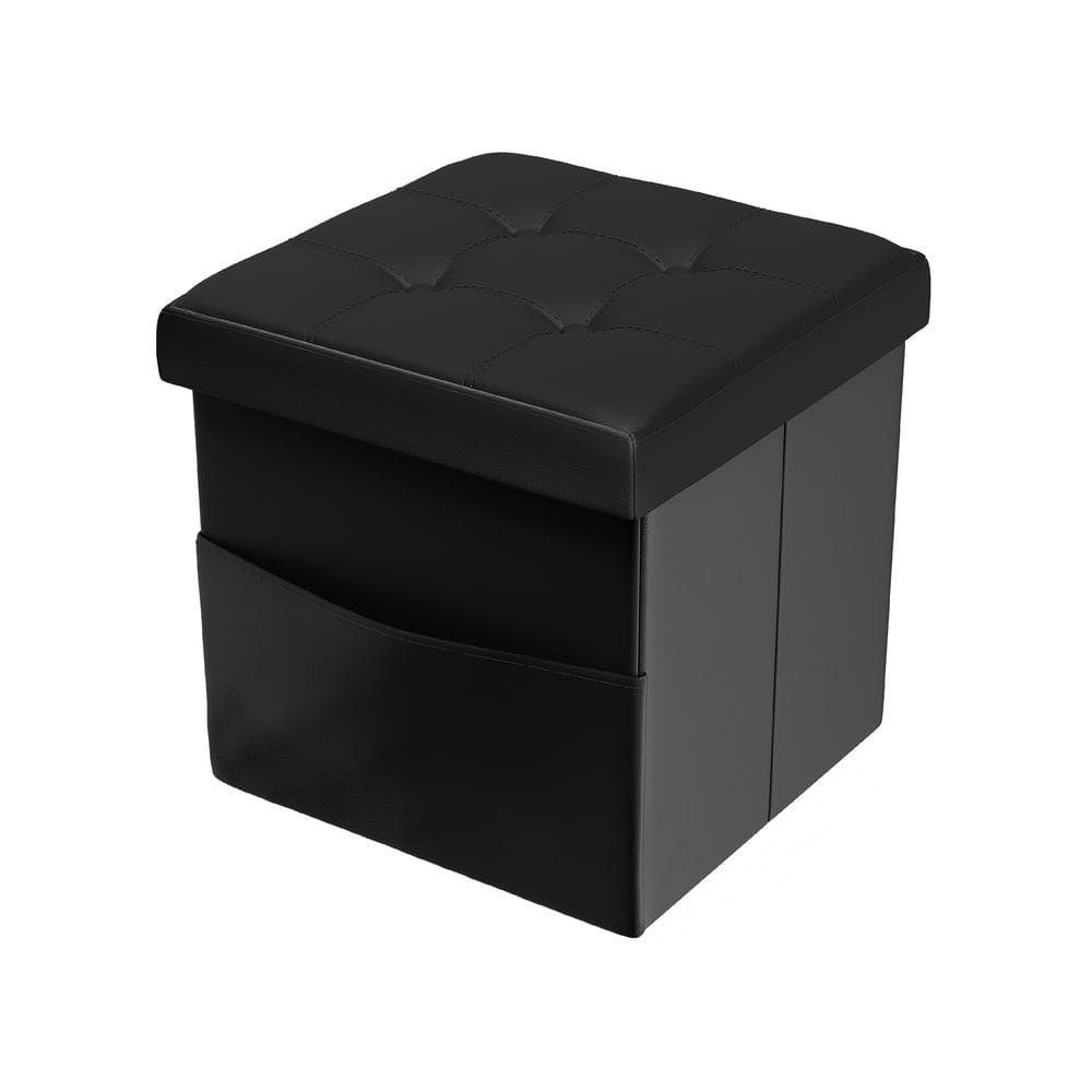 Black Ottoman Toy Chest Folding Storage Box Hold Up to 300 LB WoneNice 30 Inches Faux Leather Folding Storage Ottoman Bench
