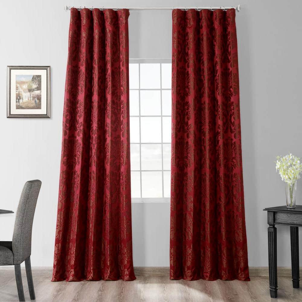 Exclusive Fabrics & Furnishings Astoria Red & Bronze Jacquard Faux Silk Rod  Pocket Room Darkening Curtain - 50 in. W x 96 in. L-JQCH-201268-96 - The  Home Depot