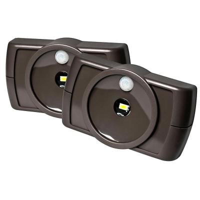 Indoor Battery Powered Motion Activated 35 Lumen Slim LED Task Light, Brown (2-Pack)